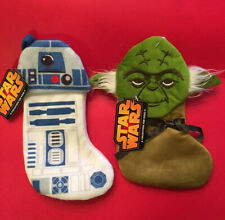 """PAIR - Yoda & R2D2 Star Wars Mini Christmas Stocking Velvet Plush Disney 8"""" New"""