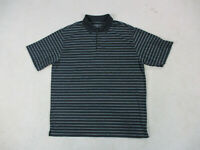 Nike Golf Polo Shirt Adult Extra Large Black Gray Striped Golfer Rugby Mens