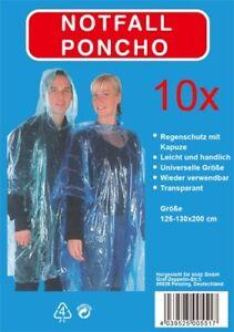 10 x Notfallregenponcho-Regenponcho Regenschutz mit Kapuze-transparent-