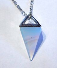 OPALITE PENDULUM NECKLACE stone crystal opalescent point charm moon pendant Q5