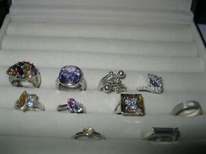 10 x 925 Silver & Cubic Zirconia / Gemstone / Crystal Rings N,O,P,Q Job Lot