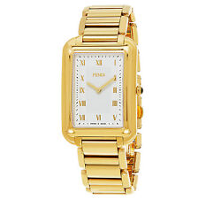 Fendi Men's Classico Rectangle Silver Dial Goldtone Quartz Watch F701414000