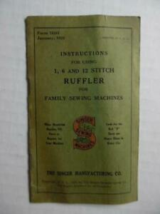 1929 Singer Sewing Machine 1 6 12 Stitch Ruffler Instructions Manual Vintage