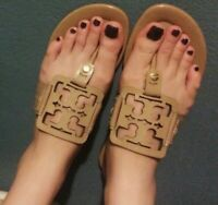 Tory Burch Square Miller Patent Sand Sandal Size 7.5