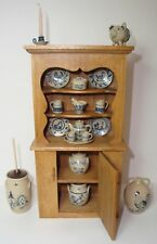 1980's Paul E. Rouleau DH Miniature Cupboard +19 pcs of Jane Graber Stoneware