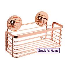 Rose Gold Rectangular Basket Shower Caddy Naleon Instaloc Removable Bathroom