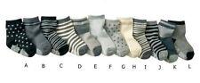 BULK... 6 pairs Baby Boys Stripy Black Grey White Socks w/ grip ..fits 1-3 years