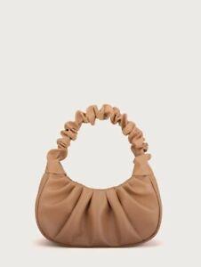 VEGAN LEATHER SMALL Ruched Beige Bagette Bag Simone Handbag Rocks Boutique