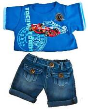 """RACING CAR T-SHIRT, JEANS OUTFIT FOR 16"""" /40cm TEDDY BEAR & BUILD YOUR OWN BEARS"""