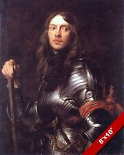 MAN IN MEDIEVAL RENAISSANCE ARMOR & RED SCARF 1600'S PAINTING ART CANVASPRINT