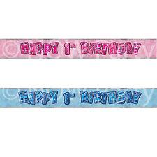 Unique Party Pink Glitz Prism 1st Foil Banner Birthday Celebration Decoration