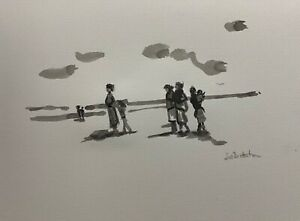 """Print of Original Ink drawing """"a wintry walk"""" A4 contemporary art Black & white"""