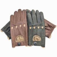 Men's Classic Style Driving Gloves Italian Cow Napa Leather All season 516 New
