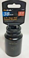 "38 mm Metric 3/4"" Drive 6 Point Deep wall Impact Socket Pro-Grade 16306 new"