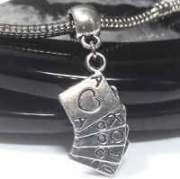 TJS 925 Sterling Silver Bead Playing Cards Charm for European Bracelet Necklace