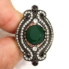 Vintage Diamond Green Emerald Ring Engagement Wedding Jewelry Size 6.5
