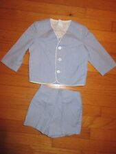 VTG Blue Striped Eaton Suit/Jacket/Shorts Size 3T USA Made