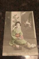 Antique early 1900s Japan post card with canceled stamp with city stamp #3