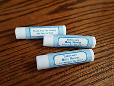 20 Personalized Lip Balm Baby Shower Boy Blue Hen Tube Peppermint Party Favors