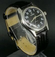 VINTAGE ROAMER MILITARY STYLE MECHANICAL SWISS MENS WATCH~NEW STRAP~UK SELLER