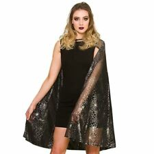 Adult Shimmering Spiderweb Cape Cloak Fancy Dress Halloween Costume Accessory