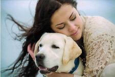 GIRL HUGS HER FAVORITE DOG Modern Russian postcard