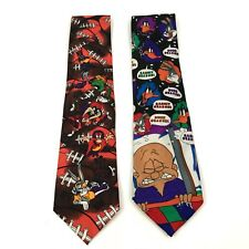 Looney Tunes Neck Tie Lot Of 2 Football Bugs Bunny Warner Bros Vintage Molto