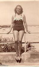 BK220 Carte Photo vintage card RPPC Femme woman mode fashion maillot bain plage