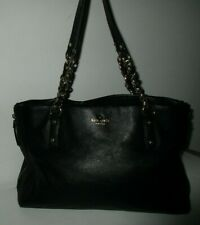 Kate Spade Cobble Hill Andee Black Leather Chain Large Handbag Tote
