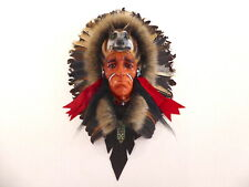 Native American Indian Head Wall Art Plaque Mask With Wolf Real Feathers.....