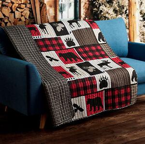LODGE LIFE BLACK BEAR PAW 50x60 QUILT THROW : MOOSE CABIN RED BUFFALO BLANKET
