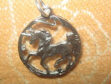 ANTIQUE SILVER UNICORN HORSE MYTHOLOGY FANTASY PENDANT CHARM NECKLACE