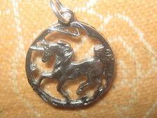 ANTIQUE SILVER UNICORN HORSE MYTHOLOGY FANTASY PENDANT CHARM NECKLACE