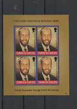 Turks & Caicos Islands 2014 MNH First Chief Minister James McCartney 4v M/S Hero