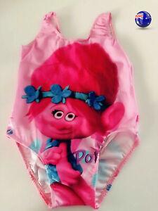 Girls Kids Children Trolls Pink Swimmers Swimwear Bathers Swim Swimsuits Togs