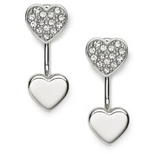 NEW FOSSIL SILVER TONE,S/STEEL 2 HEARTS,GLITZ,PAVE STUD EARRINGS JF02266040