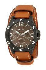 NEW FOSSIL BLACK TONE,BROWN LUGGAGE CUFF BAND,MULTIFUNCTION WATCH BQ2054