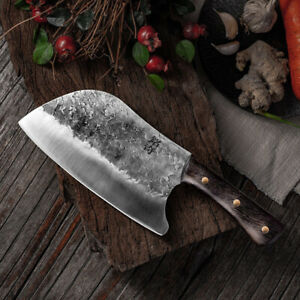 Almazan Kitchen Handmade Forged Chopper Chef Knife Hammer Stainless Steel Knives