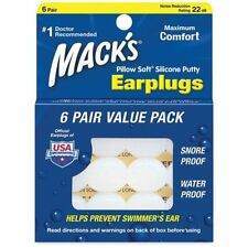 Mack's Pillow Soft Earplugs swimmers ears swimming Value Pack 6 Pair
