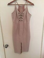 Suede Like Keyhole Bustier Style Beige Dress Size 10 w Split at front of Dress