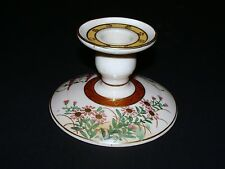 Signed Old Japanese Satsuma Porcelain Pottery Ceramic Flowered Candle Holder