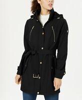 Michael Kors Womens Softshell Hooded Belted Raincoat Coat XL Black