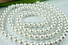 110PCS 8mm Glass Pearl Spacer White Color Round DIY Imitation Loose Pearl Beads