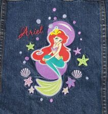 Little Mermaid Jean Jacket Youth Girl Size M Embroidered Blue Denim 100% Cotton