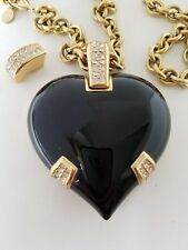 Necklace, Brooch with Chain Gold Tone Auth Christian Dior Vintage Emal Heart