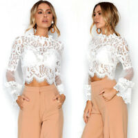 Fashion Womens Lace Long Flare Sleeve Shirt Casual Blouse Hollow Out Tops Blouse