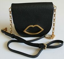 e377e86f1304 Black Lulu Guinness Amy Small Grainy Leather Crossbody Bag with chain strap  new