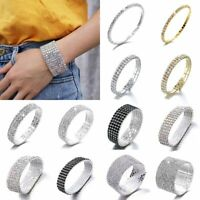 Rhinestone Crystal Cuff Bracelet Bangle Women Wedding Bridal Wristband Jewellery