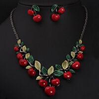 Eg _ 1 Satz Vintage Rote Kirsche Obst Schmuck-Set Schick Braut