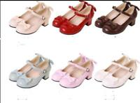 Womens Mary Janes Lolita Bowknot Strap Med Heels Block Buckle Cosplay Shoes #107